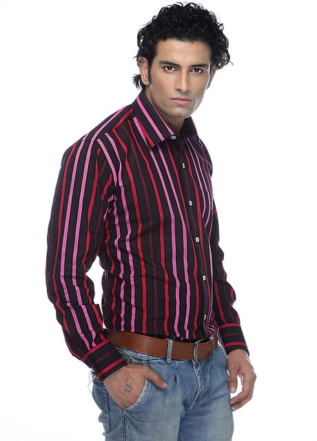 05946732 Zeal Garments Maroon Stripes Formal Shirt for Men : Men