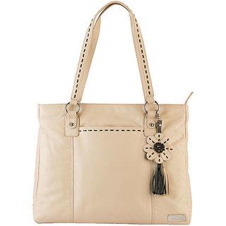 Klasse Women Casual  Genuine Leather Tote Bag (Beige)  KVLB5412BEIGE