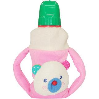 Wonderkids Pink Color Twin Handle Plush Bottle Cover