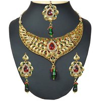 Kriaa Red & Green Austrian Stone Drop Necklace Set With Maang Tikka -1102004