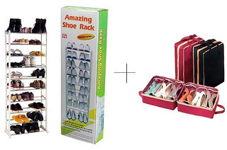 10 Layer Portable Amazing Shoe Rack With Shoe Tote