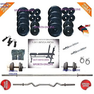 Bodyfit 32 Kg Home Gym+Inc/Dec/Flat Bench+4 Rods(1 Zig Zag)+Fit Acc