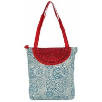 Pick Pocket Accrue Blue And Red Tote With Semicircle