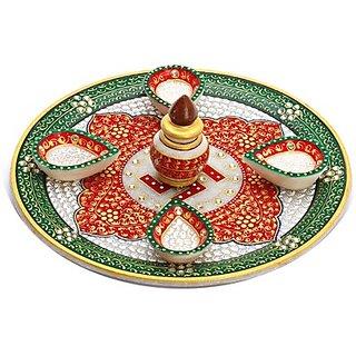 Red & Green Marble Pooja Thali With 4 Diya, 1 Kalash And Swastik Motifs