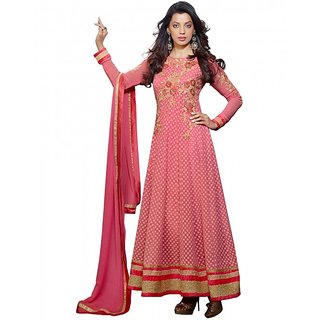 Kvsfab Pink Chanderi Embroidered Suit (8101 MUG)