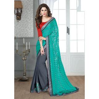Khoobee Chiffon Skirt And Chiffon Jacquard Pallu Half  Hlaf Saree(GreyRama)