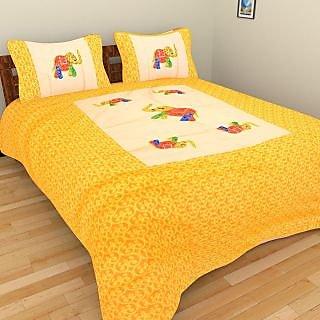 Rajkruti Jaipuri Bedsheet Cotton Patch Work Elephant Designed King Bed Sheet