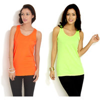 Combo - Neon Orange  Green Sleeveless Top
