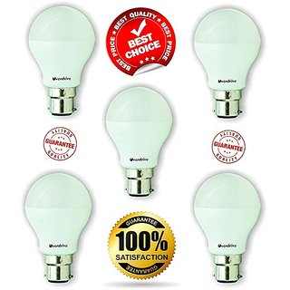 Overdrive 7-Watt B22 Base LED Bulb (5 Pieces Offer Pack, Cool Day Light)