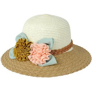 Modo Vivendi  Women Bohemian Wide Brim Bucket Cap  Flower Sun Hat(Khaki)