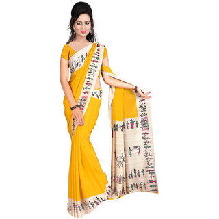 DesiButik's  Mustard Crepe Saree  with Blouse VSM2210