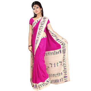 DesiButik's  Pink Crepe Saree  with Blouse VSM2215