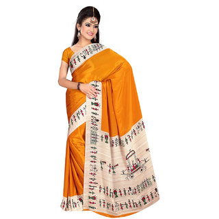 DesiButik's  Mustard Crepe Saree  with Blouse VSM2216