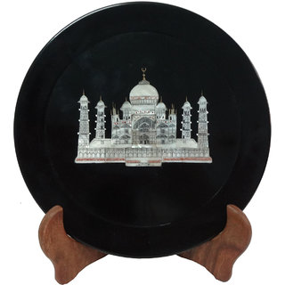 Avinash Handicrafts Black Stone Plate with Taj inlay 7 inch