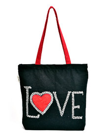 Pick Pocket Hand Embroidered Love Canvas Tote Bag