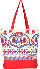 Pick Pocket Red And Offwhite Floral Tote  Bag