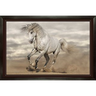 White Horse Designer Painting with Frame (25 inch x 17 inch)