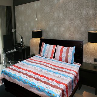 Akash Ganga Floral Double Bedsheet (Super Soft) with 2 Pillow Covers (KM522)
