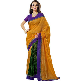 Prafful Beige-Green Bhagalpuri Silk Saree With Unstiched Blouse GS71179