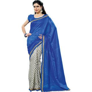 Prafful Blue-White Bhagalpuri Silk Saree With Unstiched Blouse GS71184