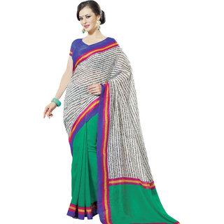 Prafful White-Green Bhagalpuri Silk Saree With Unstiched Blouse GS71186