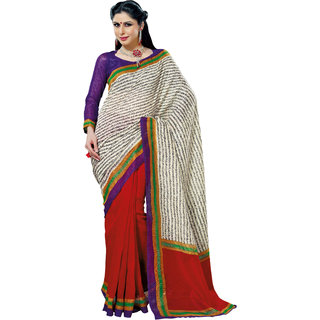Prafful White-Red Bhagalpuri Silk Saree With Unstiched Blouse GS71187