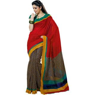 Prafful Red-Black Bhagalpuri Silk Saree With Unstiched Blouse GS71192