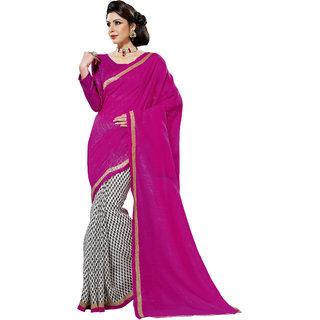 Prafful Magenta-White Bhagalpuri Silk Saree With Unstiched Blouse GS71197