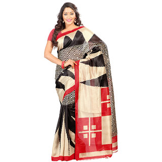 Prafful Black & Red Silk Printed Saree With Blouse