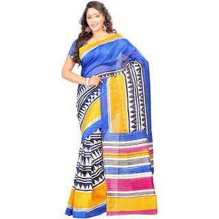 Prafful Blue & Yellow Silk Printed Saree With Blouse