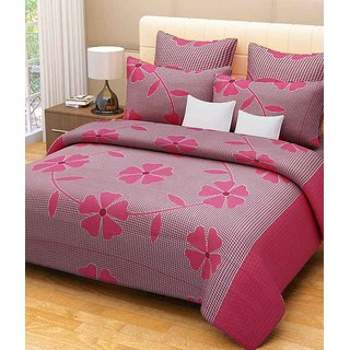 Akash Ganga Floral Double Bedsheet with 2 Pillow Covers (KM526)