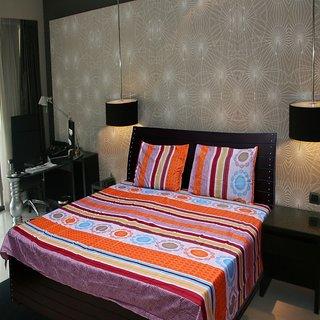 Akash Ganga Abstract Double Bedsheet with 2 Pillow Covers (KM524)
