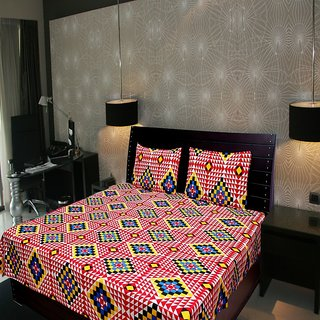 Akash Ganga Abstract Double Bedsheet (Super Soft) with 2 Pillow Covers (KM532)
