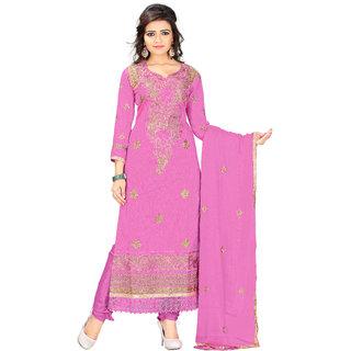 Jiya Pink Chanderi Chudidar Unstitched Dress Material