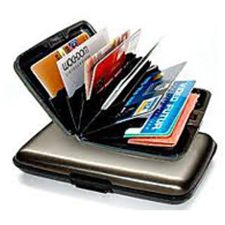 iLiv Smart Silver Hard Case Card Wallet (Synthetic leather/Rexine)