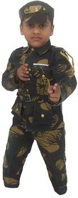 Multicolour Cotton Blend Indian Army Fancy Dress For Kids