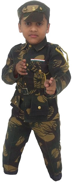 176adb53505 Multicolour Cotton Blend Indian Army Fancy Dress For Kids