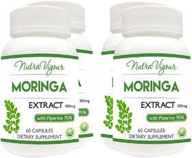 Perennial Lifesciences Nutravigour Moringa Extract Dietary Supplement - Veg 60 Capsules (Pack Of 4)
