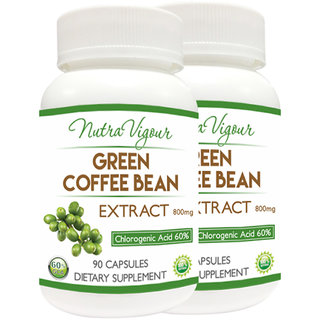 NutraVigour Green Coffee Bean Extract 60% GCA 100% Natural 90 VEG Capsules 800mg (Pack of 2) Weight management