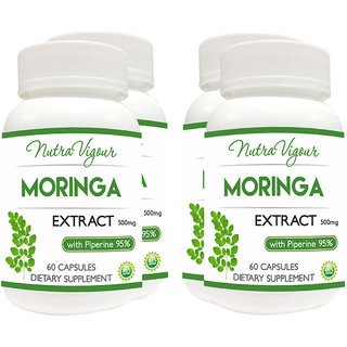 Perennial Lifesciences Nutravigour Moringa Extract Dietary Supplement - Veg 60 Capsules (Pack Of 4)