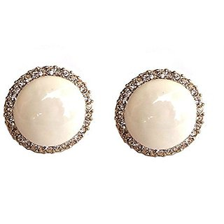 Fancy White Clip-on Studs Earrings