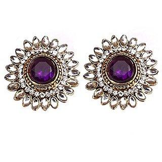Designer Purple  White Earrings