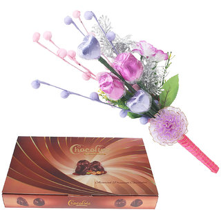 Chocoline Assorted Premium Chocolate Combo Festival Gift Pack Of 24 Pieces Chocolate Box And Chocolate Bouqet with 2 Heart-2 Flower Shaped Chocolates