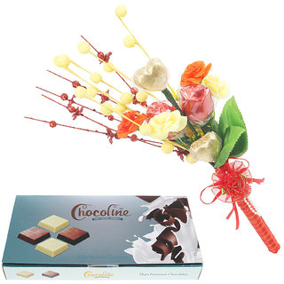 Chocoline Assorted Premium Chocolate Combo Festival Gift Pack Of 18 Pieces Chocolate Box And Chocolate Bouqet with 2 Heart-2 Flower Shaped Chocolates
