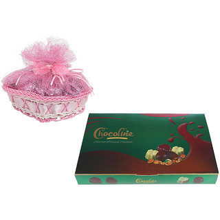 Chocoline Assorted Premium Chocolate Combo Festival Gift Pack Of 24 Pieces Chocolate Box And Heart Shape Basket- 135 grams