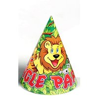 Jungle Party Theme Party Cone Caps 6 Pcs Pack