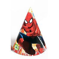 Spiderman Theme Party Cone Caps 6 Pcs Pack