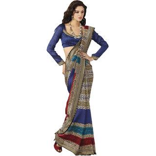 Prafful Bhagalpuri Silk Beige-Blue  beautiful saree with unstitched blouse
