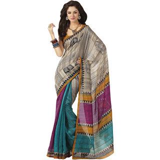 Prafful Bhagalpuri Silk Pink-Sea Green  beautiful saree with unstitched blouse