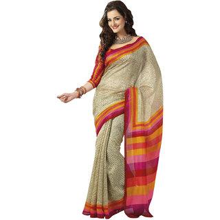 Prafful Bhagalpuri Silk Cream  beautiful saree with unstitched blouse